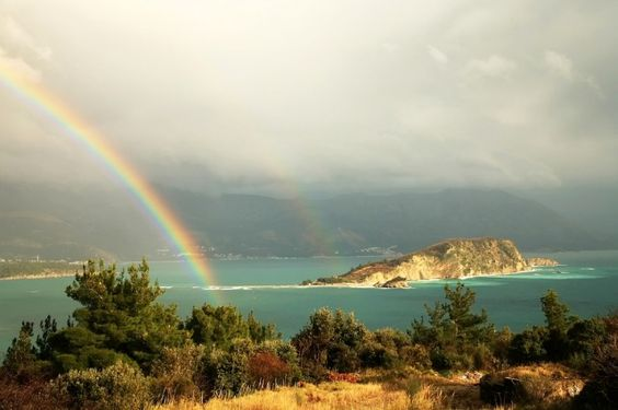 A rainbow over the hills near Budva, Montenegro.