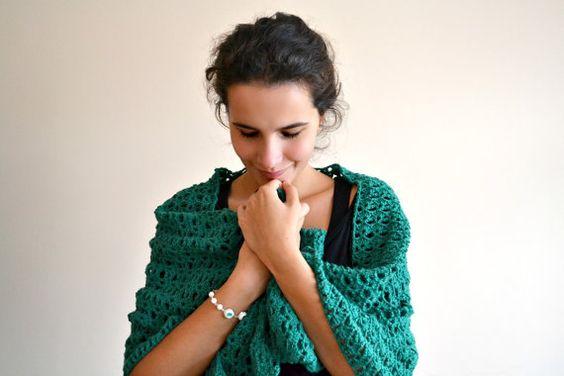 Rain-forest green lace - beautiful oversized crochet shawl