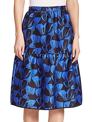 Mother of Pearl Sydney Leaf-Print Cotton & Silk Tiered Skirt - Duo