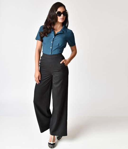 1940s 1950s Vintage Retro Voodoo Vixen Khloe Grey 40s Style Trousers 1930s