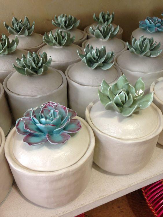 Succulent ceramic jars ~ So cute!