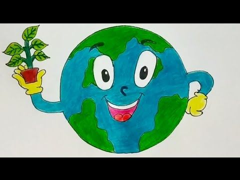 How To Draw Save Earth Save Water Easy Drawing For Kids Save Earth Stop Global Warming Drawing In 2020 Global Warming Drawing Easy Drawings For Kids Drawing For Kids