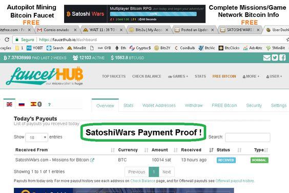 SatoshiWars Free BTC Game, Faucet, Mining, Network Info