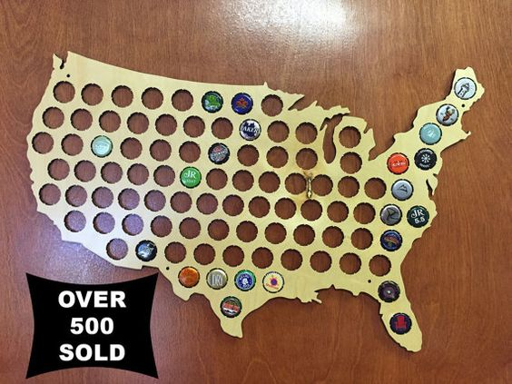 Beer Cap Map United States of America  Craft Beer by cheaphumidors