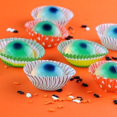 Eyeball Jell-O shots for Halloween.