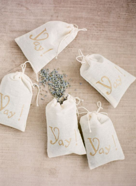 Throw Lavender instead of rice at a wedding. Also love the bags with yay on them.