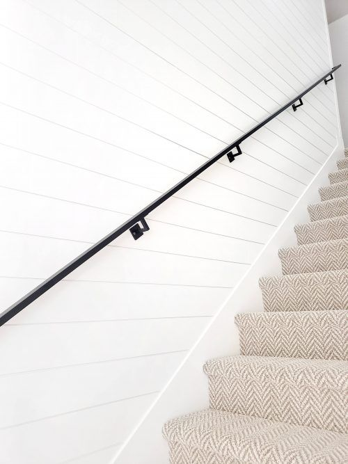 Modern Black Handrail White Lane Decor Modern Stair Railing