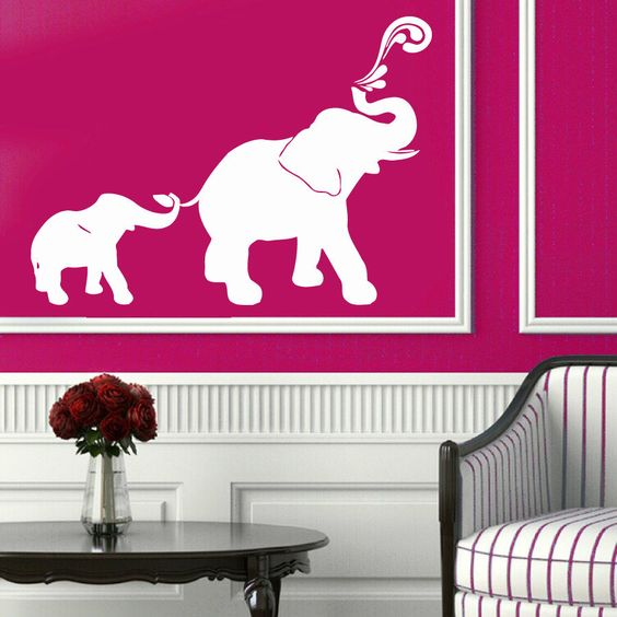 Wall Decals Animals Elephant Family Baby Design Vinyl Sticker Murals Decor KG678