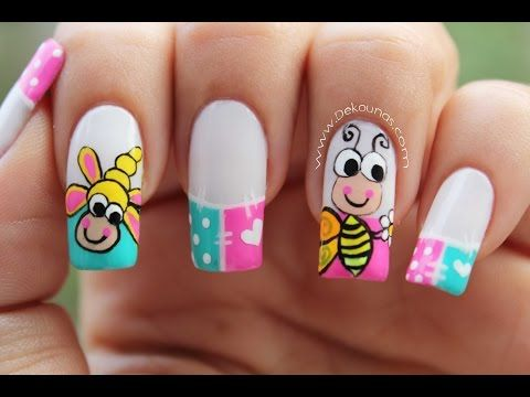 Decoración de uñas mariquitas , Lady bug nail art , YouTube