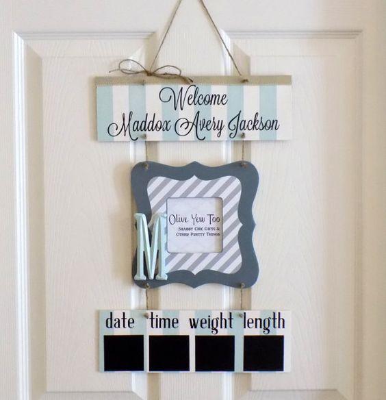 Welcome Baby Boy Light Blue & Gray Hospital Door by OliveYewToo