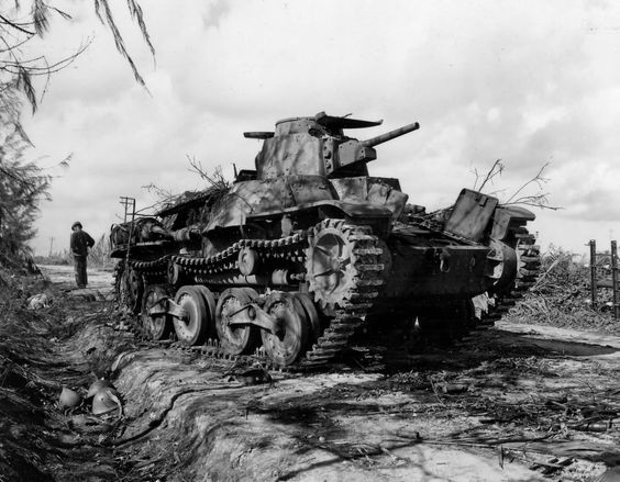 Japanese 9th Tank Regiment Type 95 Ha-Go tank destroyed on Tinian Island 1944 ~ BFD