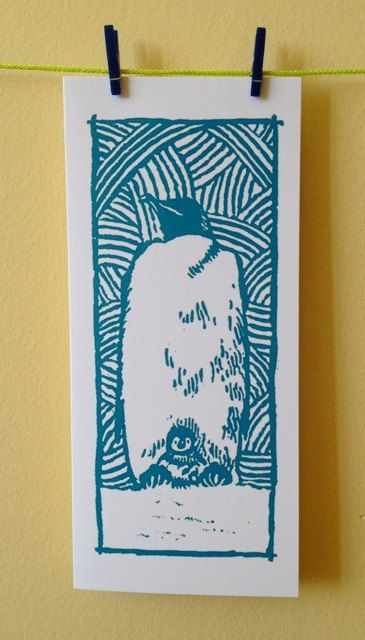 Emperor Penguin Amp Chick Greetings Xmas Midwinter Baby Yule