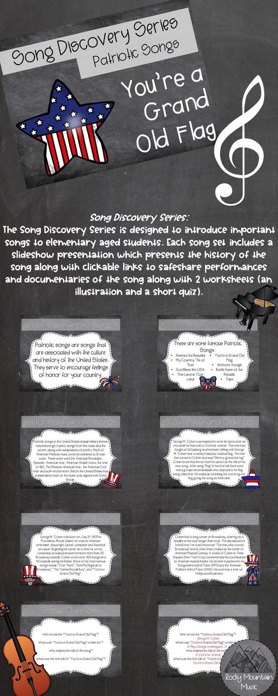 Song Discovery Series You Re A Grand Old Flag Music Classroom Activities Songs Slideshow Presentation