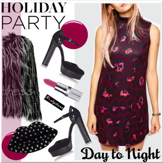Day to Night: Holiday Party 3 by paculi on Polyvore featuring moda, Topshop, Lulu Guinness, Shany, Nails Inc., nastydress and holydayparty