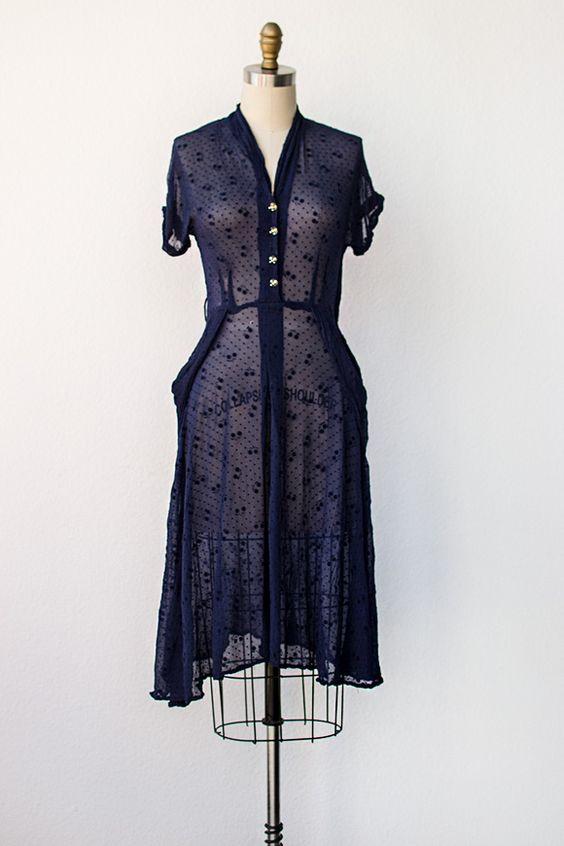 VINTAGE 1940S NAVY BLUE FLOCKED SHEER DRESS - [1940s] ~ sheer ...