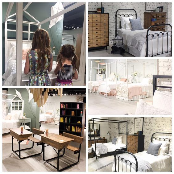 My favorite thing about @highpointmarket weekend was showing my cuties the new kid collection which was totally inspired by them. The girls picked their favorite bed and asked how we could take it home and fit it on the plane  #magnoliahomefurniture: