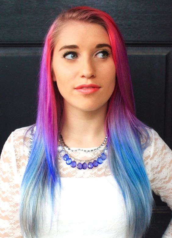 Rainbow ombré hair, super easy to do. Using hot hot pink, purple haze, and shocking blue #manicpanic #rainbowhair #ombre #diy