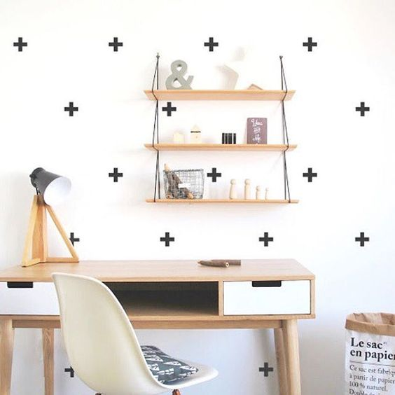 We love DIY decor projects, can you tell?These Pöm wall stickers are chic + clean and so easy to apply! They will look great on any room in the house, we love this home office inspo! Available for £12 at ninou.co.uk! #wallstickers #monochrome #pomlebonhomme #decor #kidsinteriors #barnrumsinspo #barnrum #homeoffice: