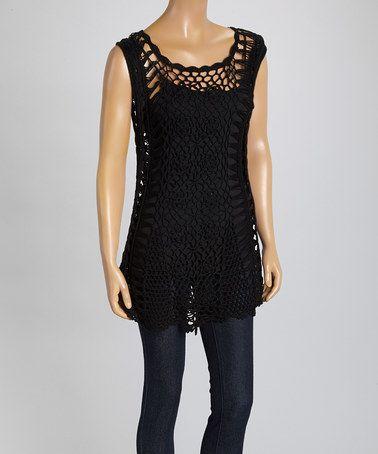 Look what I found on #zulily! Black Crochet Linen-Blend Tunic #zulilyfinds