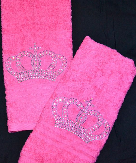Hand Towels Meaning: Rhinestone Crown Hand Towels Set By Iblingz On Etsy, $25