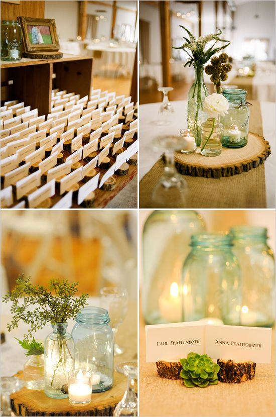 jars, wood, succulents... also like the grey and yellow