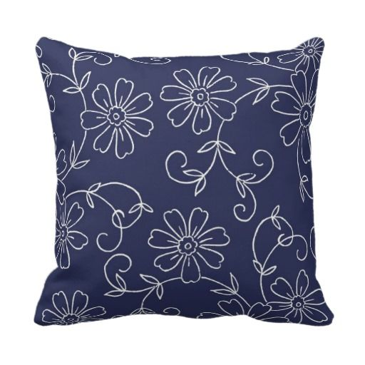 Navy Blue and Cream Floral Decorative Pillow