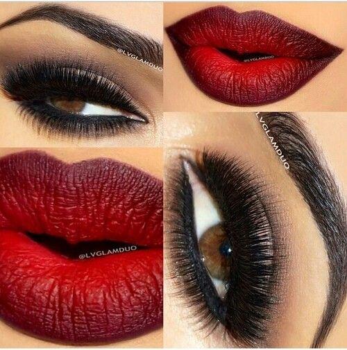 Kim Kardashian Makeup Deep Red Lips Smokey Brown Eyes:
