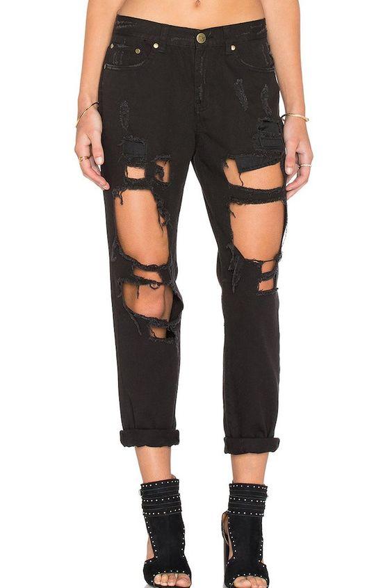 Reverse Destroyed Pants Boyfriend Jeans - Black