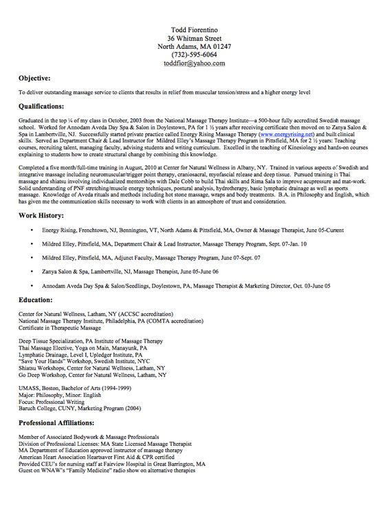 Massage Therapy Resume Sample - http\/\/resumesdesign\/massage - resume examples for massage therapist