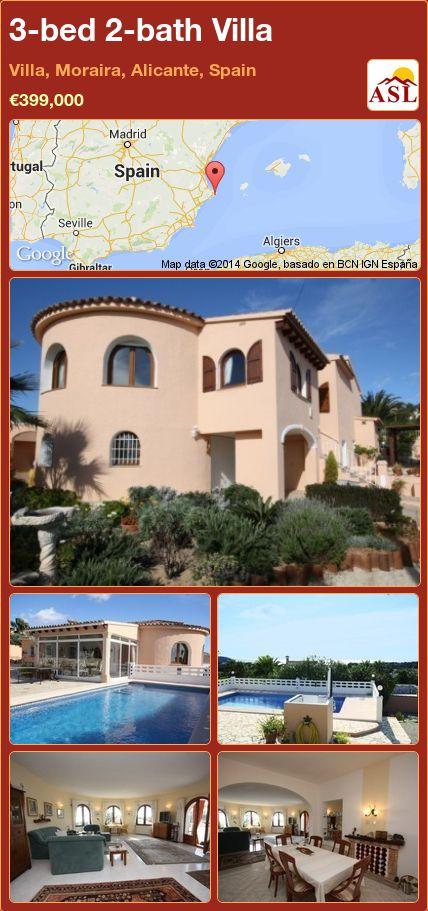 3-bed 2-bath Villa in Villa, Moraira, Alicante, Spain ►€399,000 #PropertyForSaleInSpain
