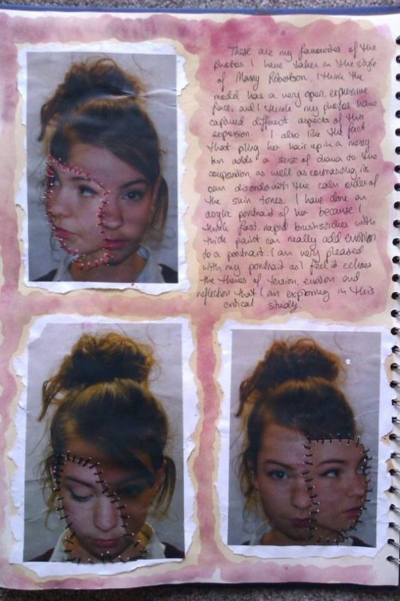 Manny Robertson critical study continued for 'Order and Disorder' Art GCSE (half)