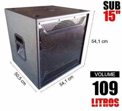 Caixa De Som Vazia 1 X 15 Com 109 Litros Tela Naval 18mm Com