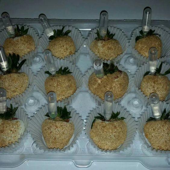Cheesecake strawberries with pineapple ciroc...YUMMM