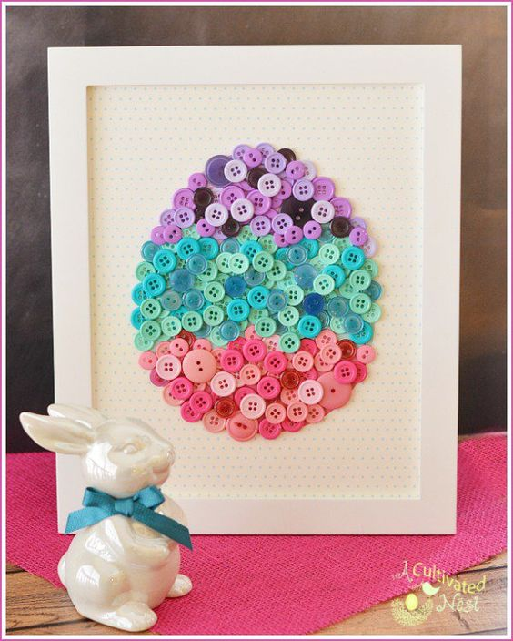 DIY Easter Button Craft with free Template.  This pretty framed DIY button egg is easy to make and will look so cute as part of your spring and Easter decor! | Button Crafts| Easter Crafts| Easter decorating ideas: