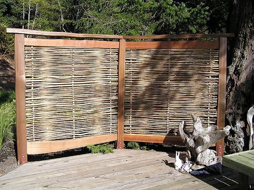 Patio yards and privacy screens on pinterest for Wood deck privacy panels