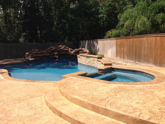 Swimming Pool Large Free Form Swimming Pool With 12 Ton Moss Rock Waterfall Raised Wall With