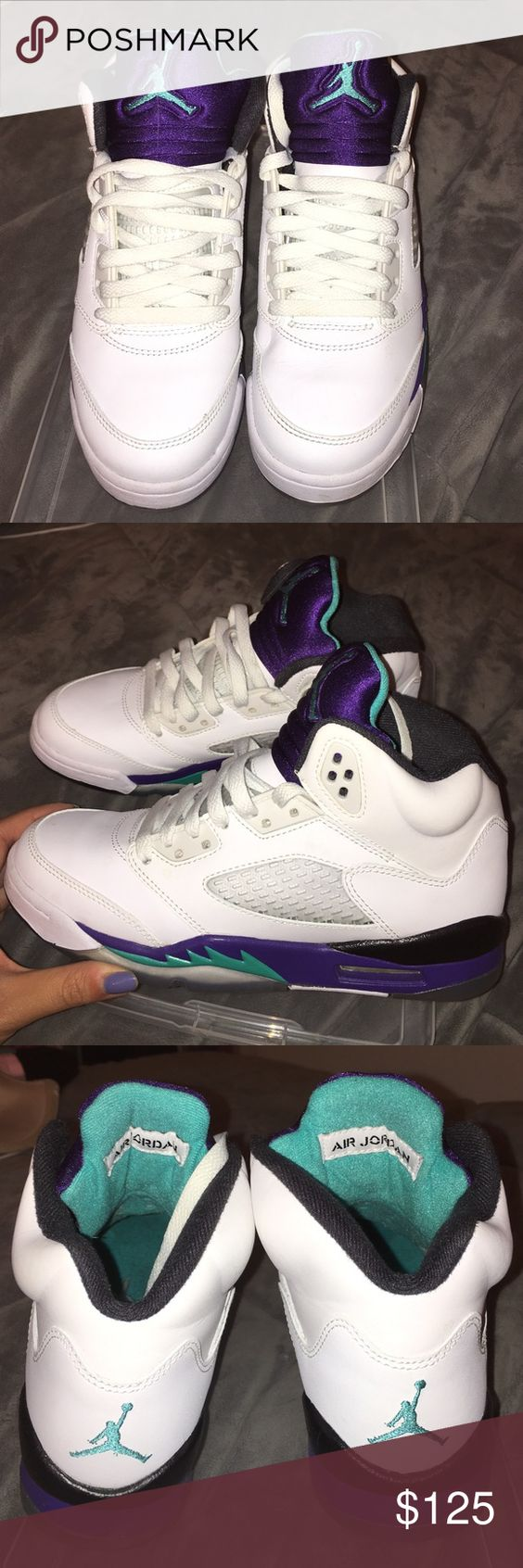 """Authentic Jordan Retro 5 """"White Grape"""" - Size 5 GS 100% authentic, very near deadstock Jordan Retro 5 """"Grape."""" Size 5 GS. Comes with OG box. Thanks for looking! Jordan Shoes Sneakers"""