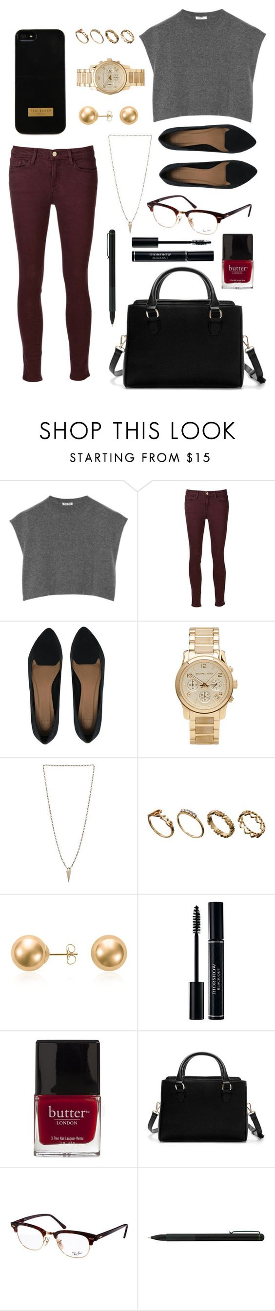 """4 o'clock Out & About"" by whatsuplemondrop ❤ liked on Polyvore featuring Miu Miu, Frame Denim, ASOS, Michael Kors, Luv Aj, Blue Nile, Butter London, Zara, Ray-Ban and IDEA International"