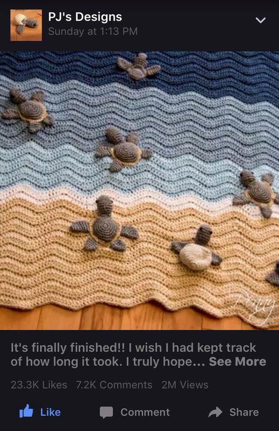 PJs Designs Crochet Sea Turtle blanket Crochet ...