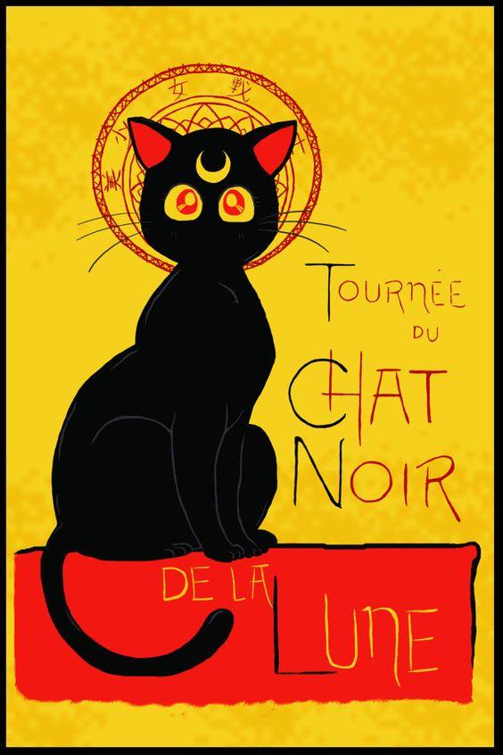 WANT!!!! Signed Poster  Chat Noir de la Lune by DiHA on Etsy, $36.00