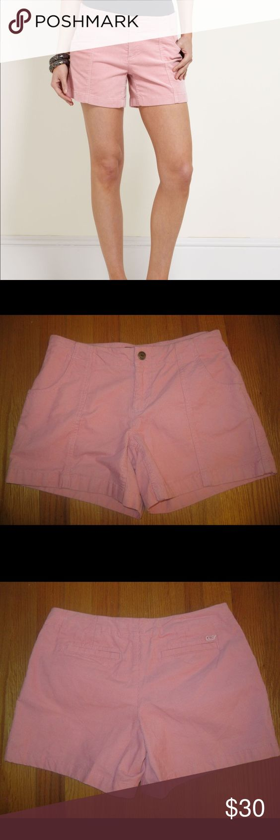 Vineyard Vines Pink Cord Corduroy Shorts Size: 2. Waist: Approximately 27 inches. Length: Approximately 12 inches. Inseam: Approximately 5 inches. Rise: Approximately 7 inches. Metal logo snap on front closure. Embroidered whale on back welt pocket. Zipper and button closure. NO belt loops. Unlined. 98% cotton, 2% spandex. Inside tag marked to prevent retail return. Vineyard Vines Shorts