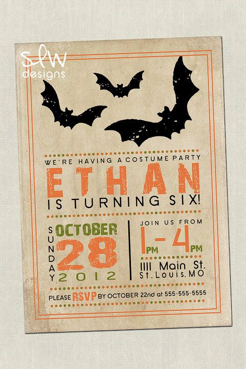 Vintage halloween birthday invitation digital by for Vintage halloween party invitations