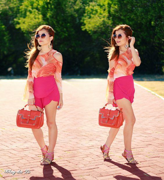 No look pink + laranja    por Letícia Oliveira   Blog da Lê       - http://modatrade.com.br/no-look-pink-laranja