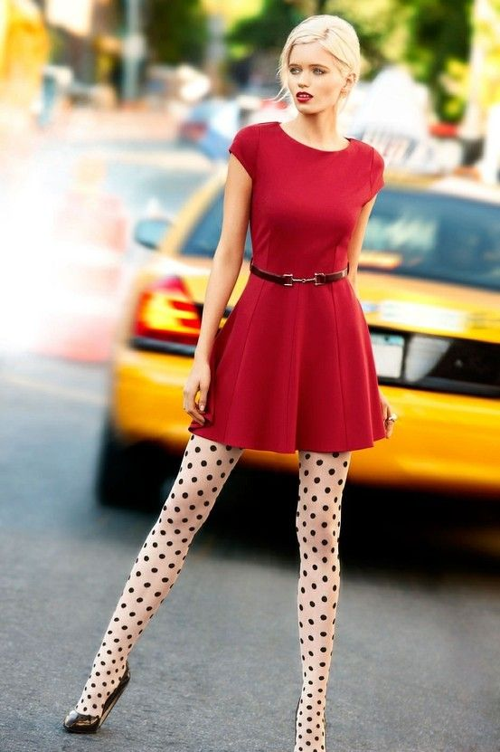 polka dot tights: