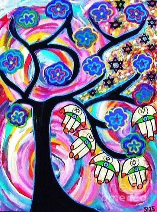 Sandra Silberzweig - Judaica Hamsa Tree Of Life Ebony - Original Art Print (copyright)   For additional print sizes, commission work, or purchase of my Original Artwork, please feel free to email me at isandra@primus.ca   If you are interested in viewing more of my artwork, I will gladly email you additional links.   I look forward to your inquires.   ALL MY ARTWORK IS COPYRIGHTED   IMAGE NOT TO BE USED WITHOUT MY PERMISSION