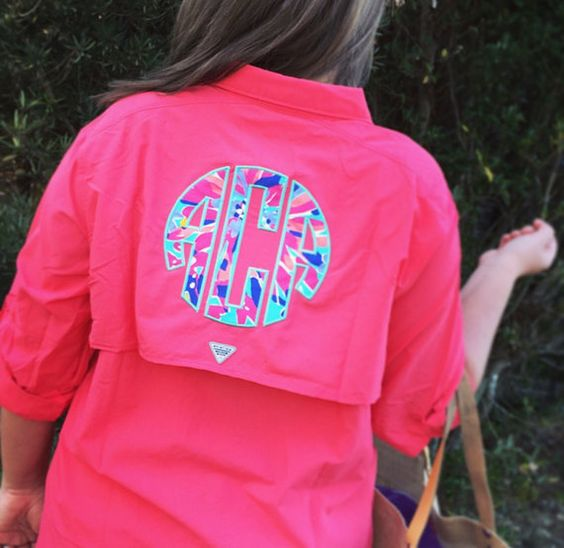 Preppy lilly pulitzer monogrammed columbia pfg fishing for Monogram fishing shirt