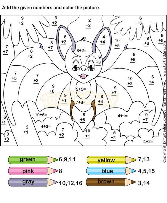 Color Addition Worksheet2  Addition Worksheets  Pinterest