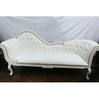 Beautiful Divan Sofa Chaise Longue Francés Tapizado, Eco Cuero Blanco! $ 25000.0