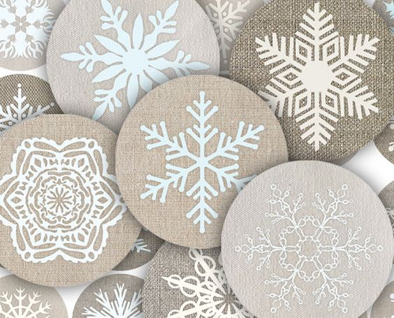 Mixed Snowflake Images on Linen by Orange Clipart #Christmas