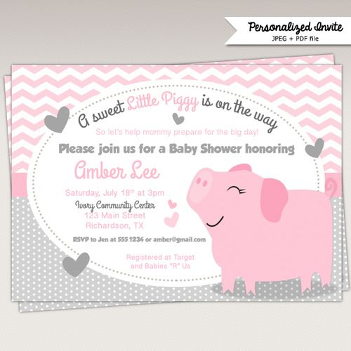 Little Pink and Grey Piggy Baby Shower Printable Invitations